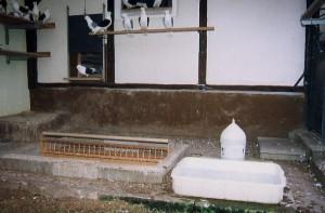Futtertrog, Tränke und Badewanne können auch in der Voliere aufgestellt werden.